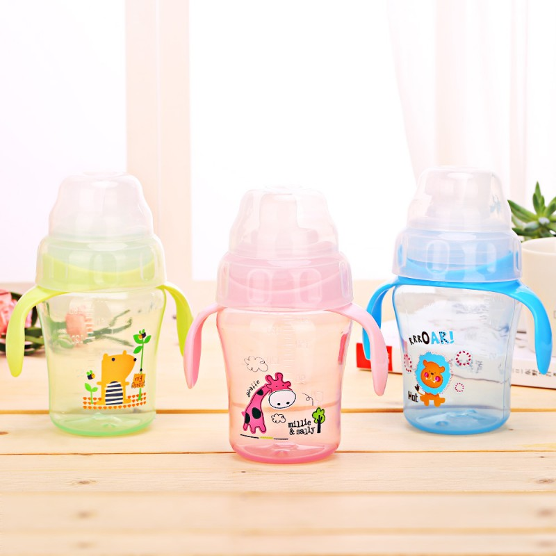 240ml Baby Kids Lovely Cup Toddler Infant Cartoon Deer Children Learn Drinking Straw Bottle With Handle Newborn Sippy Cup 1PC