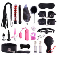 BDSM Bondage Sex Slave Toys Set Handcuffs Whips Eye Mask Gag Anal Plug Sex Vibrators Toys for Adult Women Couples Torture Games