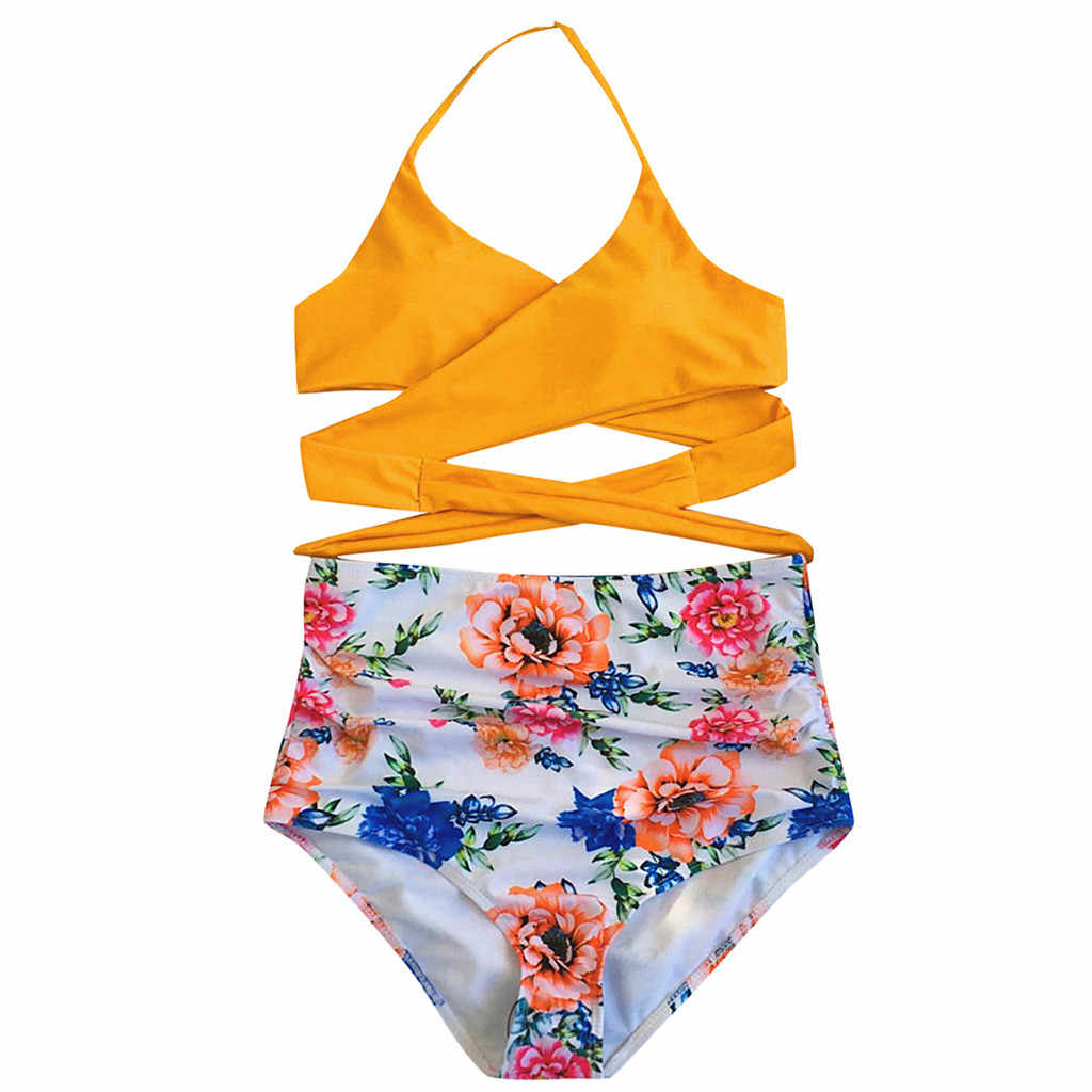 ملابس السباحة النساء ضمادة الأزهار طباعة مثير مجموعة البكيني عالية الخصر ملابس السباحة رفع البرازيلي Biquini الإناث ثوب السباحة الشاطئ 19dc
