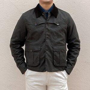 Image 1 - Уличная винтажная Вощеная хлопковая куртка 80 х годов мужское охотничье пальто в коротком стиле оливковая