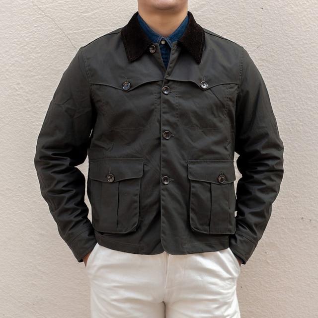 Уличная винтажная Вощеная хлопковая куртка 80 х годов мужское охотничье пальто в коротком стиле оливковая