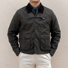 Açık Vintage mumlu pamuklu ceket 80s erkek avcılık ceket kısa stil zeytin