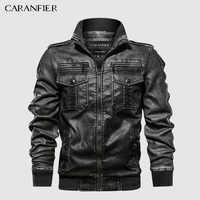 CARANFIER hommes vestes en cuir moto col montant fermeture éclair poches mâle taille américaine PU manteaux Biker Faux cuir vêtements mode