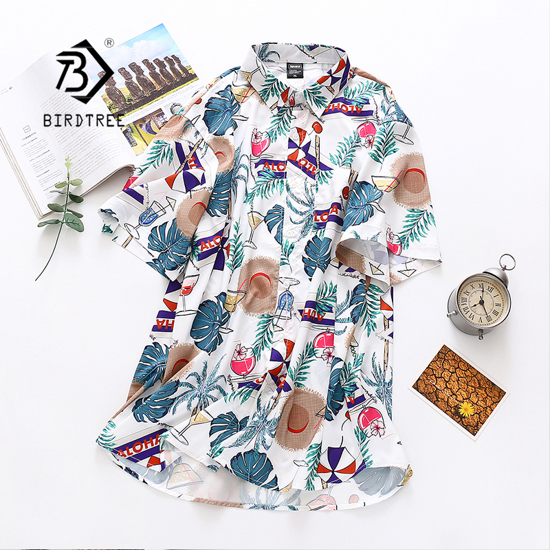 Summer New Arrival Women Leaf Print Short Sleeve Blouse Turn Down Collar Casual Loose White Shirt Women's Tops Feminina Blusa T0