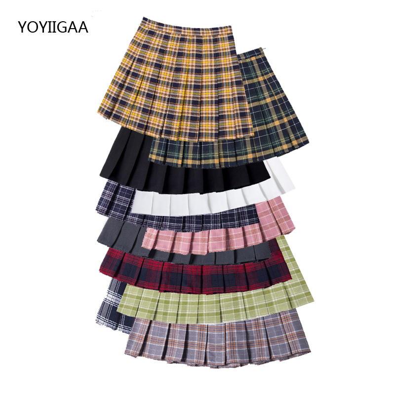 Summer Skirt High Waist Women Pleated Skirts Fashion Slim Waist Women Sweet Girls Dance Skirt Plaid Casual Ladies Short Skirts