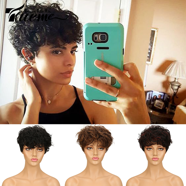 Trueme Brasiliano Pixie Cut Parrucca Rosso Blu Ombre Ondulati Dellonda di Remy Capelli Corti Parrucche Dei Capelli Umani Per Le Donne Nere di Moda parrucca piena