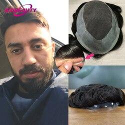 Addbeauty laço do plutônio dos homens peruca 100% remy sistema de substituição do cabelo humano 30mm onda puro artesanal peruca cabelo cor natural