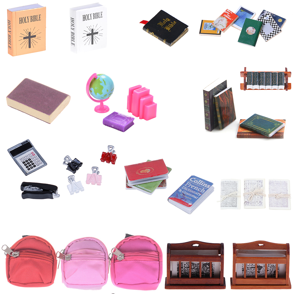 Notebook Books Newspaper Bookshelf Backpack Caculator Clamp Model Doll House Kid Toys Dollhouse Miniature Learning Accessories