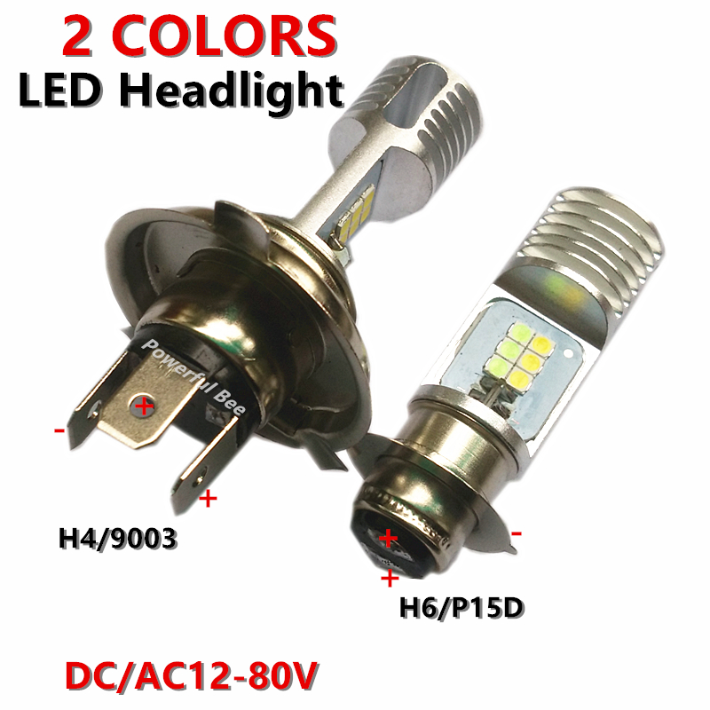 Newest 2 Colors 12W*2 LED White Yellow Ice Blue Motorcycle Car Bike Headlight Bulb H4 H6/BA20D P15d Hi/Lo Beam Headlamp 12-80V
