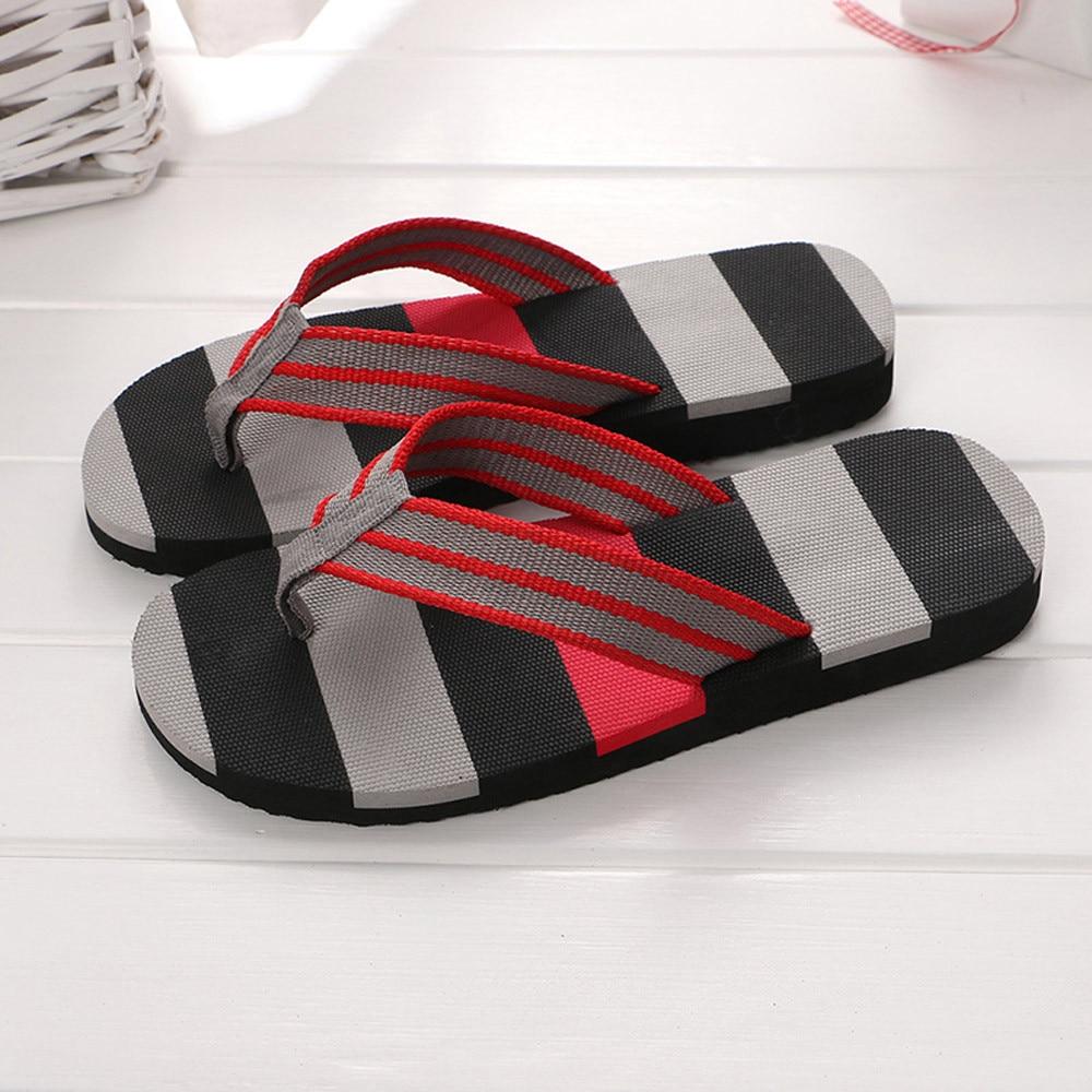 Men Summer Stripe Flip Flops Shoes Sandals Male Slipper Flip-flops EVA Mixed Colors Flat With Shoes Fashion