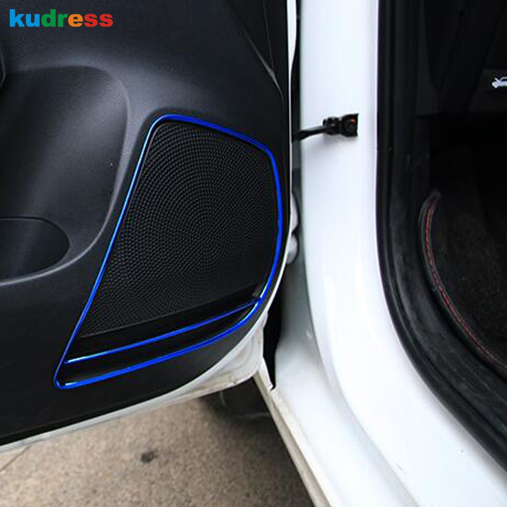 Styling For Kia Rio 4 X-line 2018 2019 Stainless steel Car Door Speaker Sound audio ring Cover Trim sticker Auto accessories