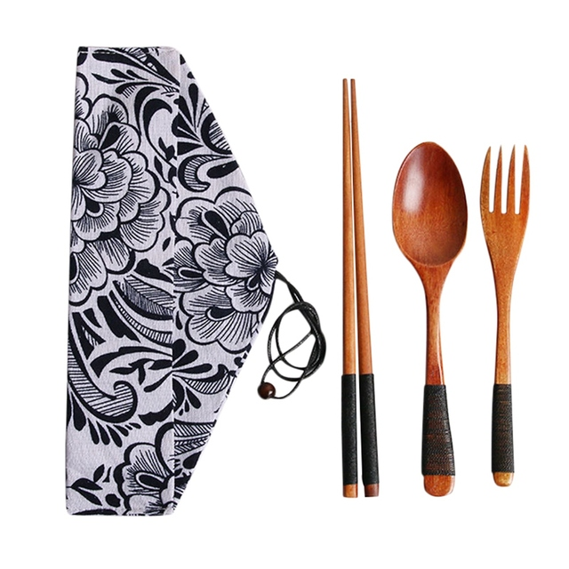 4pcs/set Kitchen Utensil with Cloth Bag Bamboo Reusable Portable Wooden Cutlery Set Spoon Fork chopsticks for Travel Outdoor 4