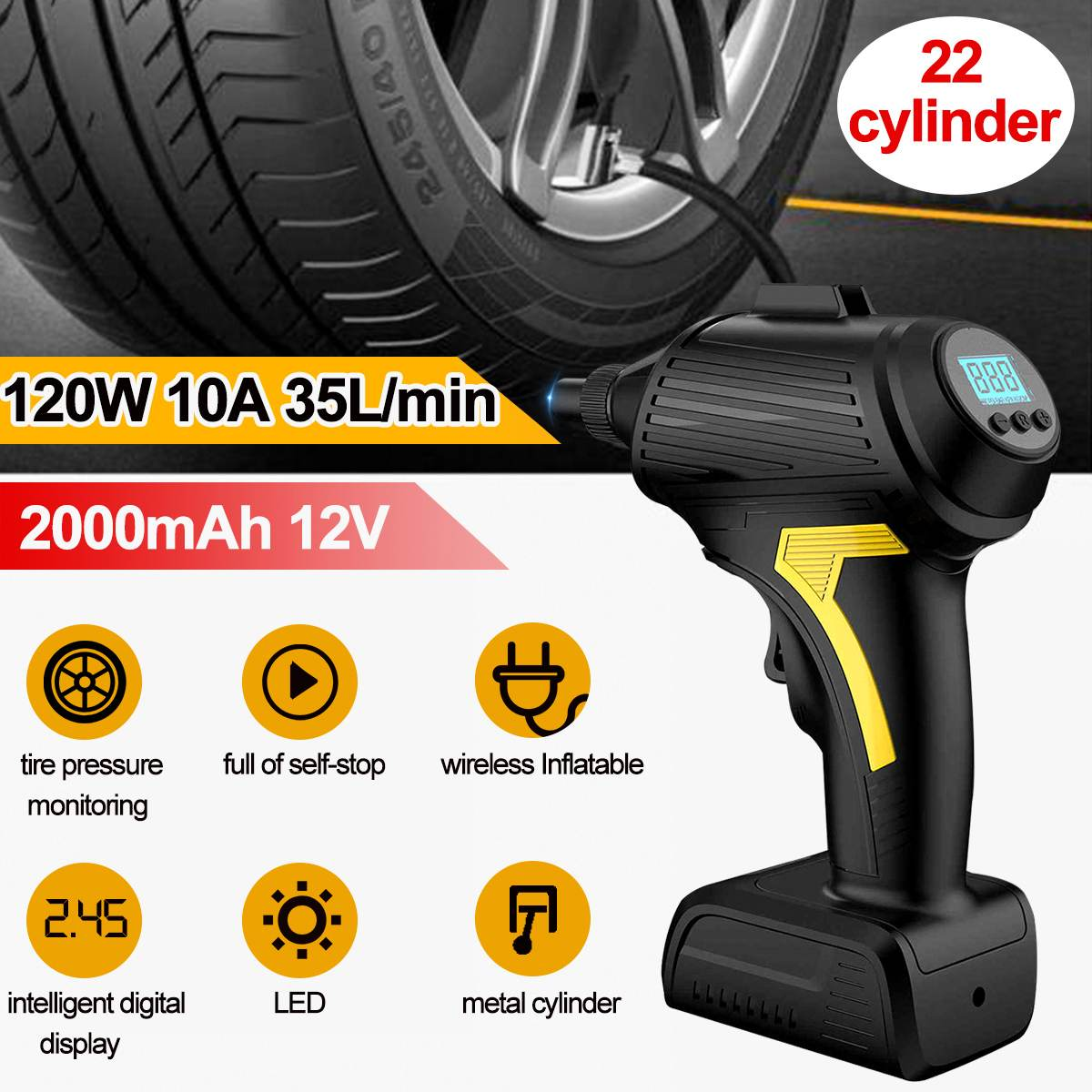 12V 2000mAh 35L/min Tire Inflator Cordless Air Compressor 150PSI Hand Held Air Pump Rechargeable 120W Electric Power LCD Digital