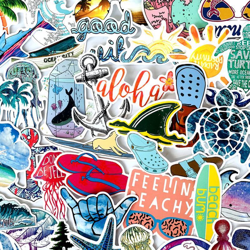 50pcs VSCO Stickers Surfing Summer Beach Shaka Decal For Laptop Fridge Phone Skateboard Suitcase Hydro-flask Sticker Girl