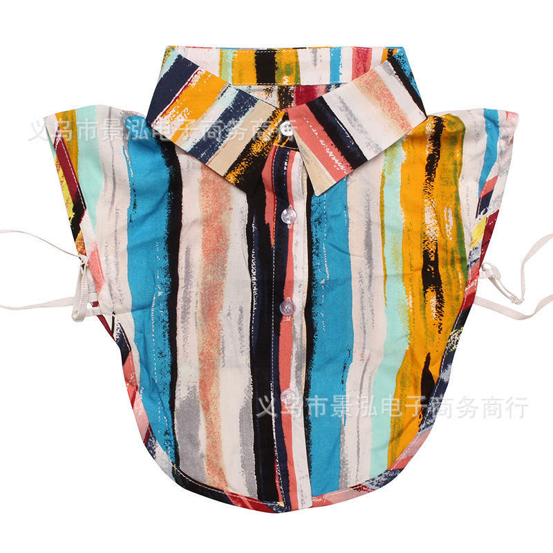 Europe And America Rainbow Stripes Oil Painting Ink Style Spring And Summer-False Collar Collar