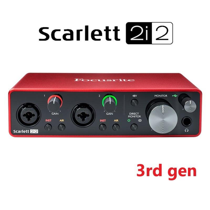 New Atualizado Focusrite Scarlett 2i2 (3rd gen) interface de áudio USB placa de som de gravação profissional com mic preamp