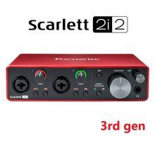 Interface de áudio de gravação profissional, interface de áudio focusrite scarlett 2i2 (3rd gen) com placa de som usb e pré-amplificador de microfone
