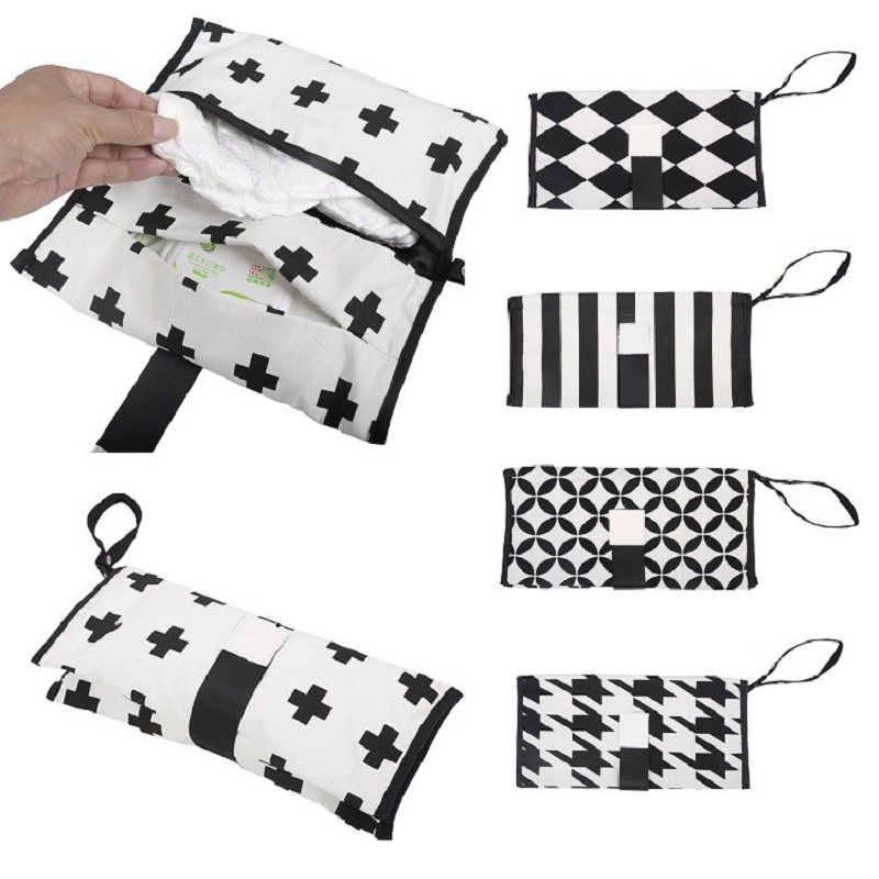 30*30CM Baby Diapers Bag For Mom Striped Print Waterproof Maternity Bag Reusable Cotton Stroller Bag Organizer For Baby Nappies