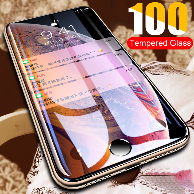 100D Curved Protective Glass On The For IPhone 11 Pro Max Tempered Glass For IPhone X XS MAX XR Screen Protector 6 6s 7 8 Plus