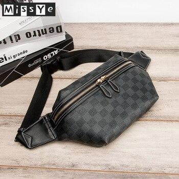 High quality Plaid PU Leather Cross-body waist bag  messenger chest for men рюкзак мужской поясная сумка мужская