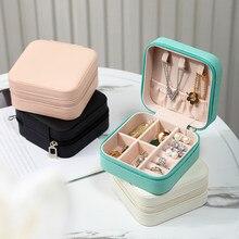 2021 organizador de jóias exibição caso de jóias de viagem caixas de viagem portátil caixa de jóias de armazenamento de couro organizador brinco titular