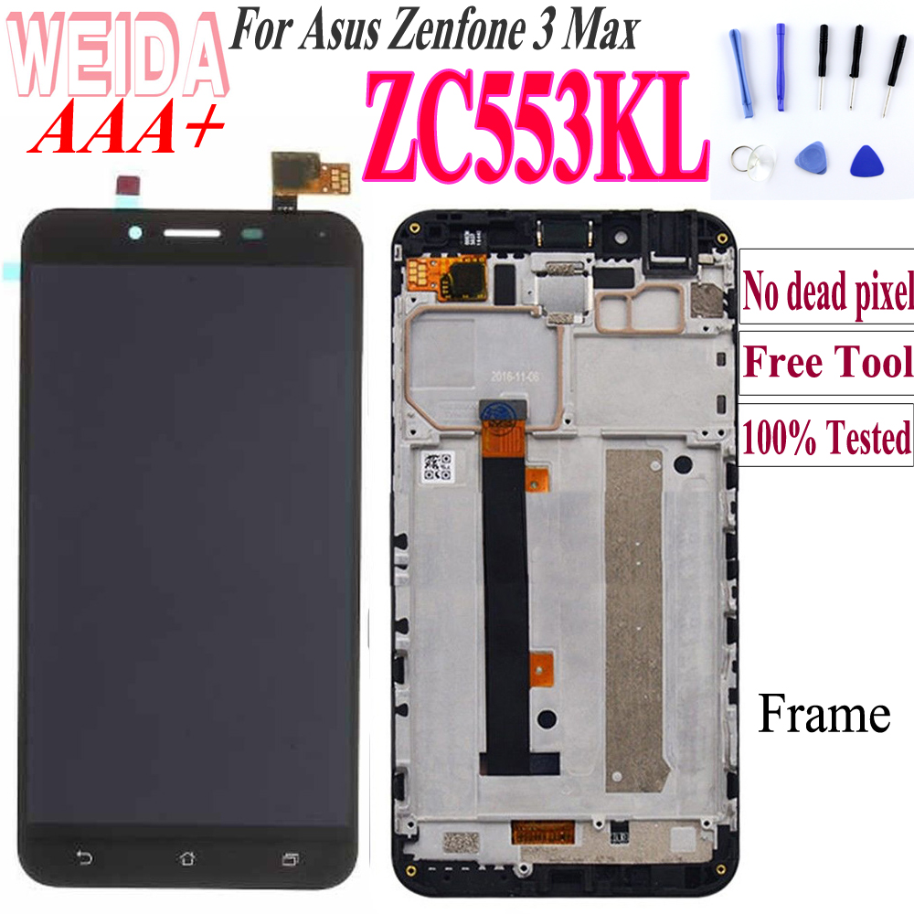 Original For ASUS Zenfone 3 Max <font><b>ZC553KL</b></font> LCD <font><b>Display</b></font> Touch Screen for ASUS Zenfone 3 Max <font><b>ZC553KL</b></font> X00DD LCD with Frame Free Tool image