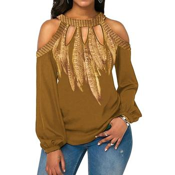 Hot apparel Plus Size woman Shirts Feather Print Women Cold Shoulder Long Sleeve Casual Blouse Chiffon Shirt solid color cold shoulder all match casual women solid color o neck long sleeve cold shoulder holes plus size blouse hot sales