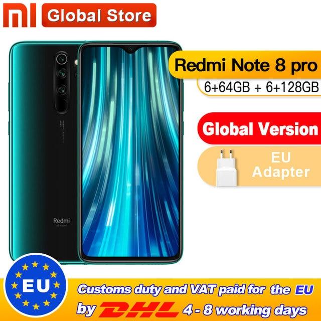 Global Version Xiaomi Redmi Note 8 Pro 6GB 64GB /128GB Smartphone 64MP Quad Camera Helio G90T Octa Core 4500mAh NFC 1