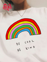 Be Cool Be Kind Rainbow T-shirt 90s Fashion Tumblr Grunge Aesthetic Tee Shirt Women Graphic White Tee Clothes