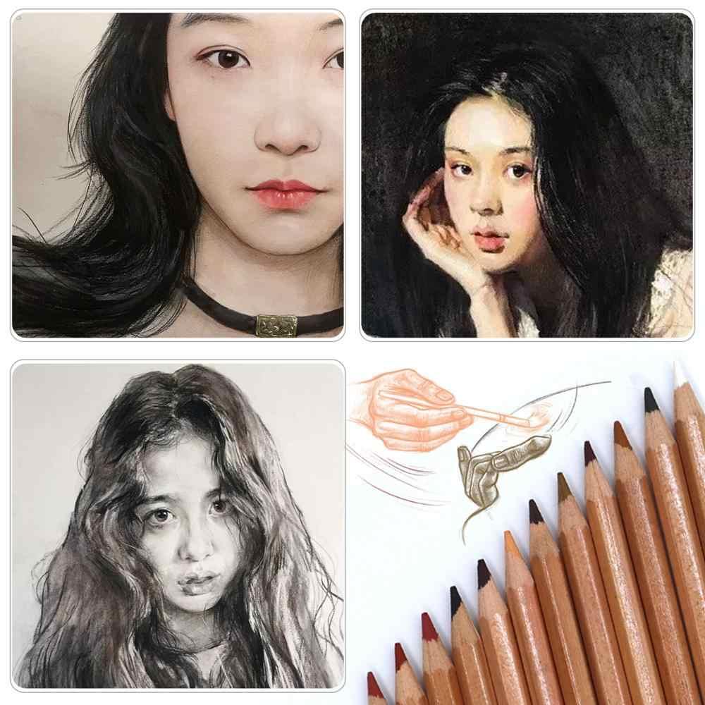 Professional 12Pcs Soft Pastel ชุดดินสอไม้ผิวสีพาสเทลถ่านดินสอสีสำหรับ Painter Sketch Drawing อุปกรณ์