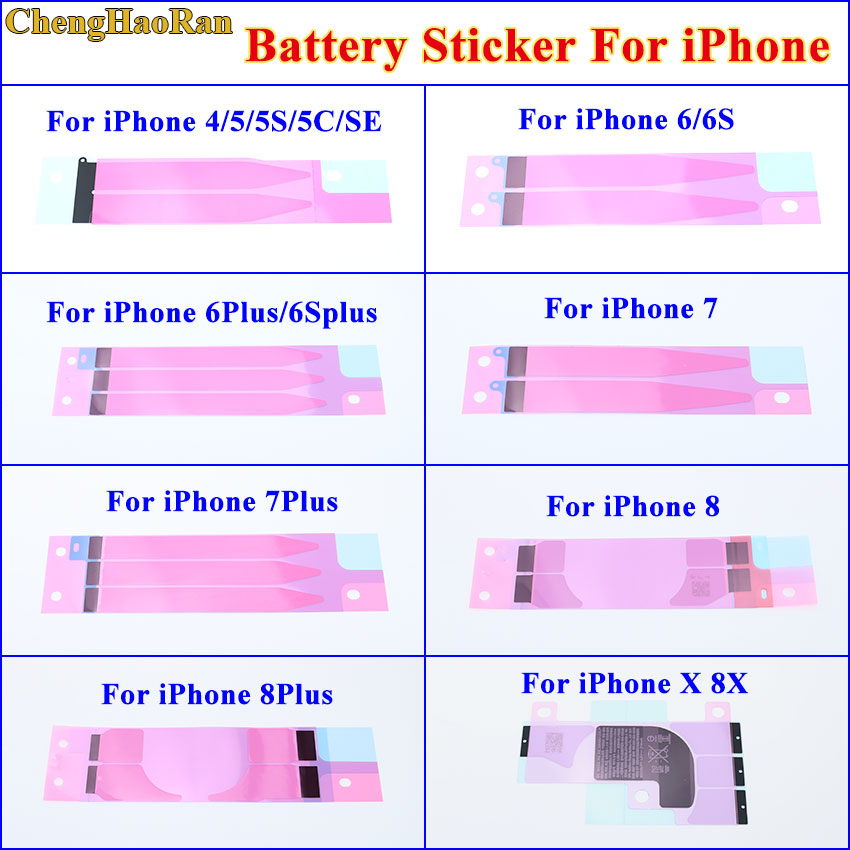 10pcs Anti-Static Battery Adhesive Sticker For IPhone 4 5 5s 5c Se 6 6s 7 8 X Plus Battery Glue Tape Strip Tab Replacement Part