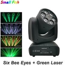 LED ستة النحل عيون 6X10W RGBW 4IN1 تتحرك رئيس ضوء DMX 512 التحكم تأثير المرحلة الإضاءة ل DJ ديسكو حفلة الرقص الطابق النوادي