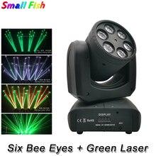 Projecteur de lumière à tête mobile 6 yeux dabeilles 6x10w RGBW 4 en 1 contrôle DMX LED, éclairage de scène avec effet pour discothèque DJ et discothèque