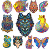 Top Quality 3D Jigsaw Wooden Puzzles Each Piece is Animal Shaped Card Adults Kid Toys Gifts Family Puzzle Game Home Decoration P