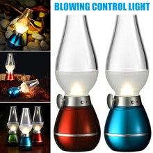 H estilo Retro USB Lámpara de Control de soplado LED recargable 0,4 W ajustable portátil de noche lámparas de escritorio para el hogar Camping LG66
