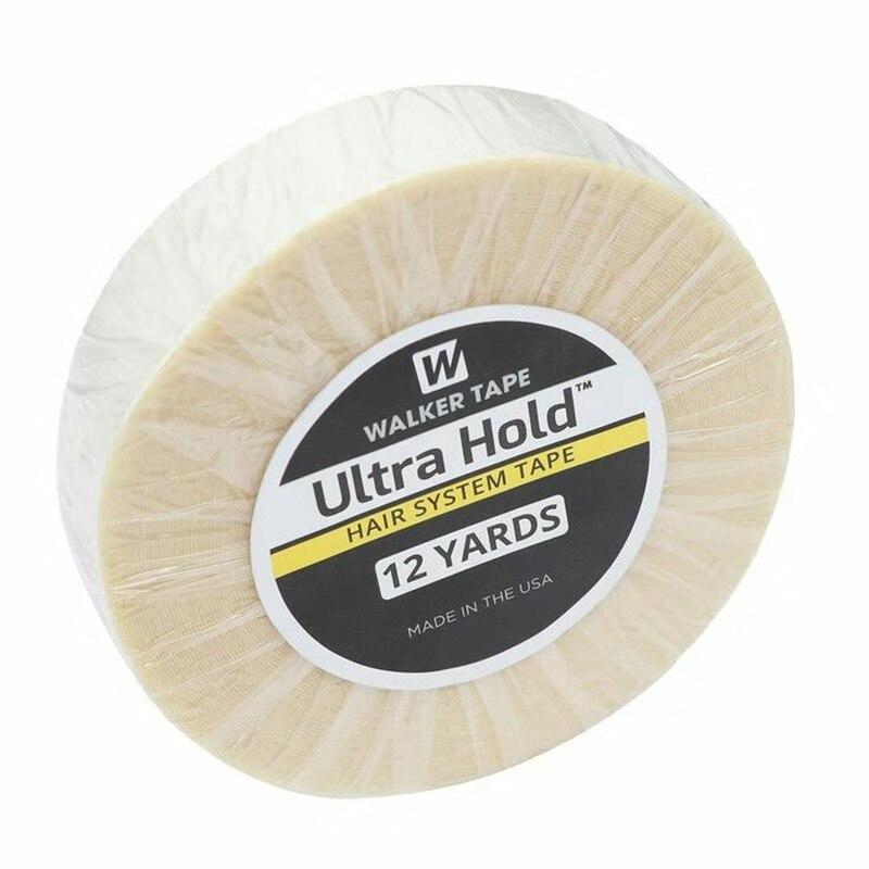 12 jardas 1.9cm 2.54cm branco ultra hold suporte fita dupla face fita adesiva à prova ddouble água para a extensão do cabelo da fita/peruca de peruca/laço