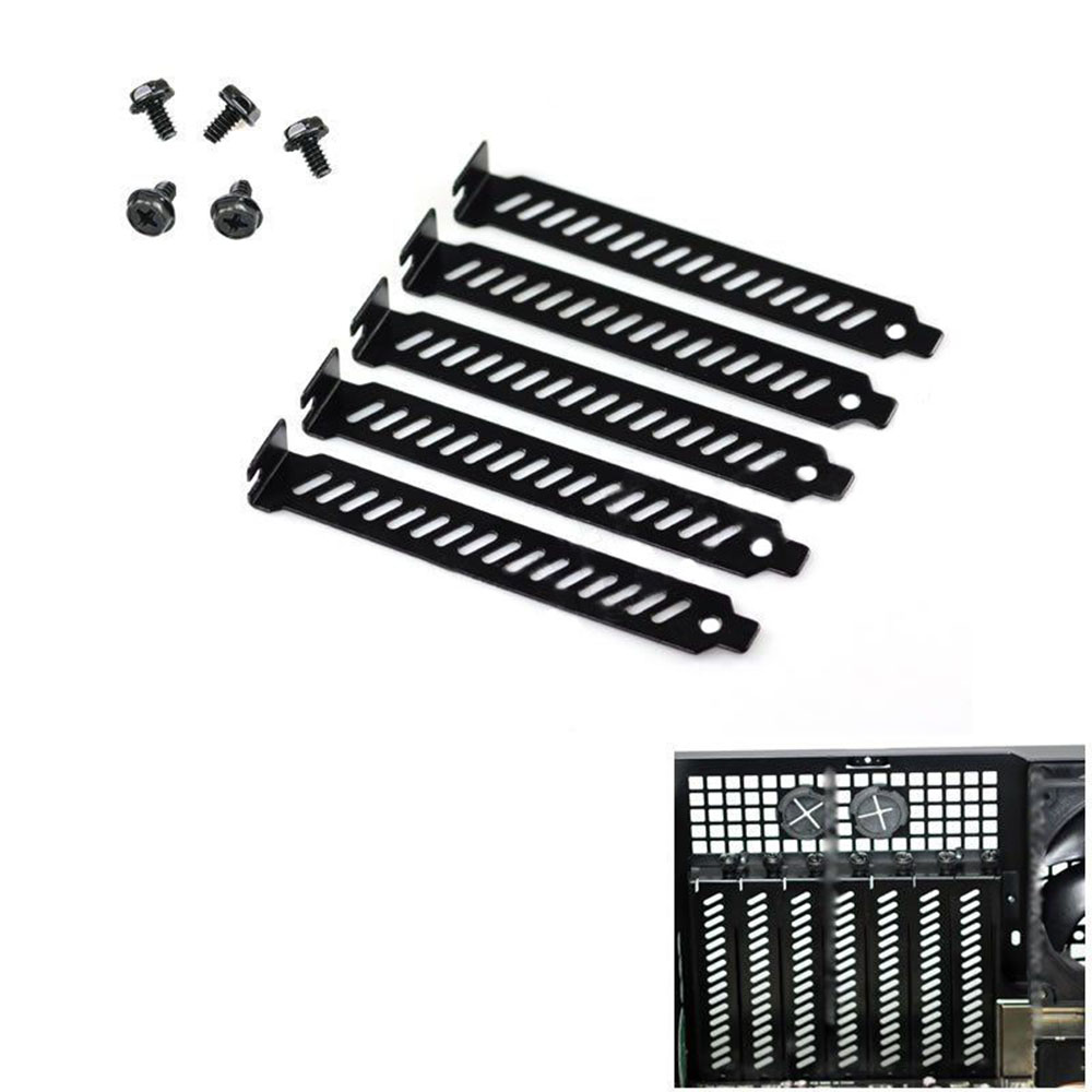 10pcs New Black PCI Slot Cover Dust Filter Blanking Plate Hard Steel W/screws