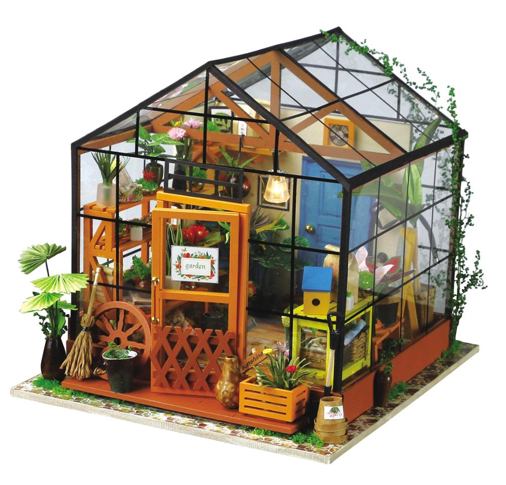 Robotime Miniature Dollhouse DIY Dollhouse with doll house furniture, Light Gift for Children Adults Kathy's Flower House(China)
