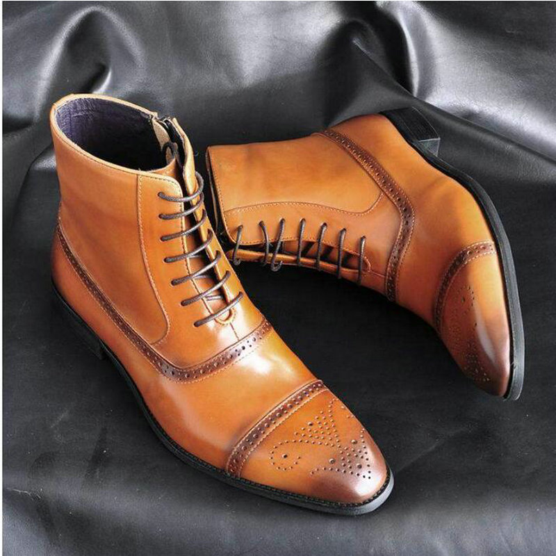 Autumn NEW Men Zipper Boots Vintage Brogue College Style Men Shoes Casual Fashion Lace-up Boots For Man  Big Size 39-47 A52-89