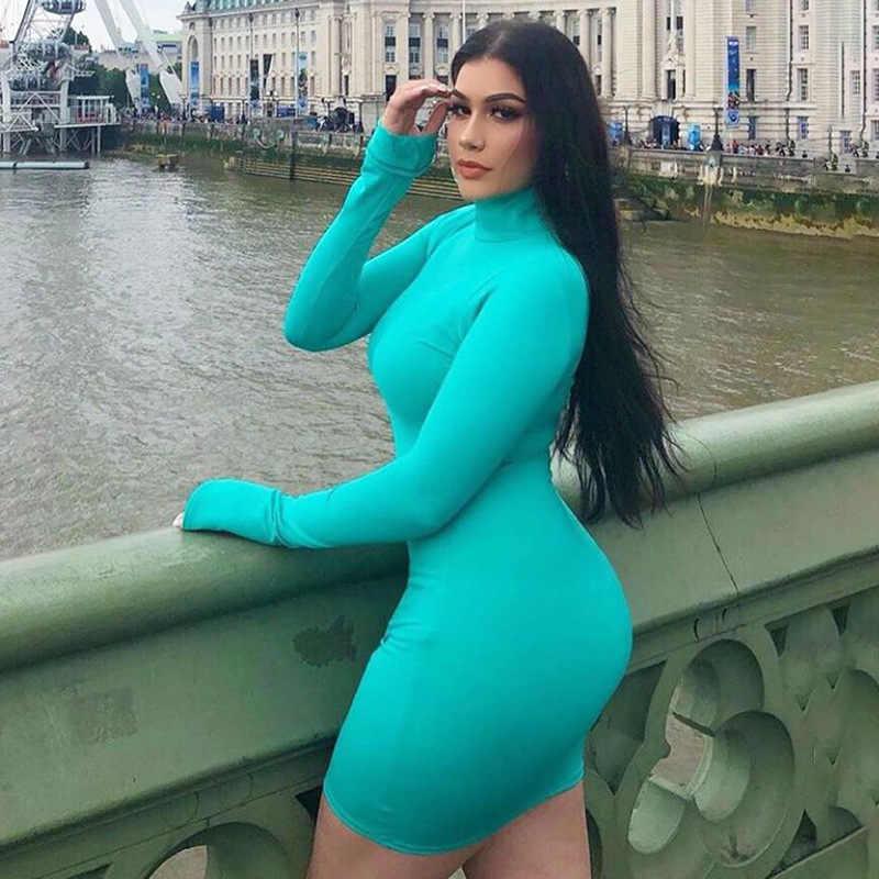 Облегающее мини-платье с высоким воротом и длинными рукавами, женские осенние сексуальные платья, однотонное зимнее базовое облегающее платье, тонкие вечерние Клубные платья