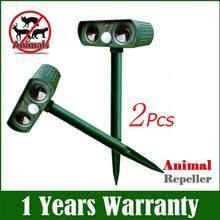 1/2 pces ao ar livre energia solar ultra-sônico repelente animal dissuasor cão/gato/pássaro/movimento repeller raposas repelente jardim repelente