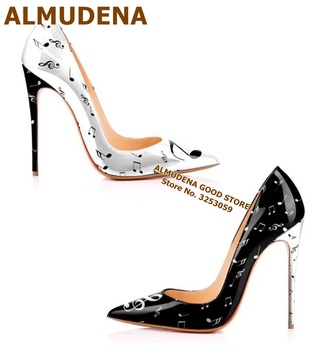 ALMUDENA Music Notes Pirnted High Heels White Black Color Patchwork Dress Shoes Pointed Toe Patent Leather Wedding Pumps 12cm