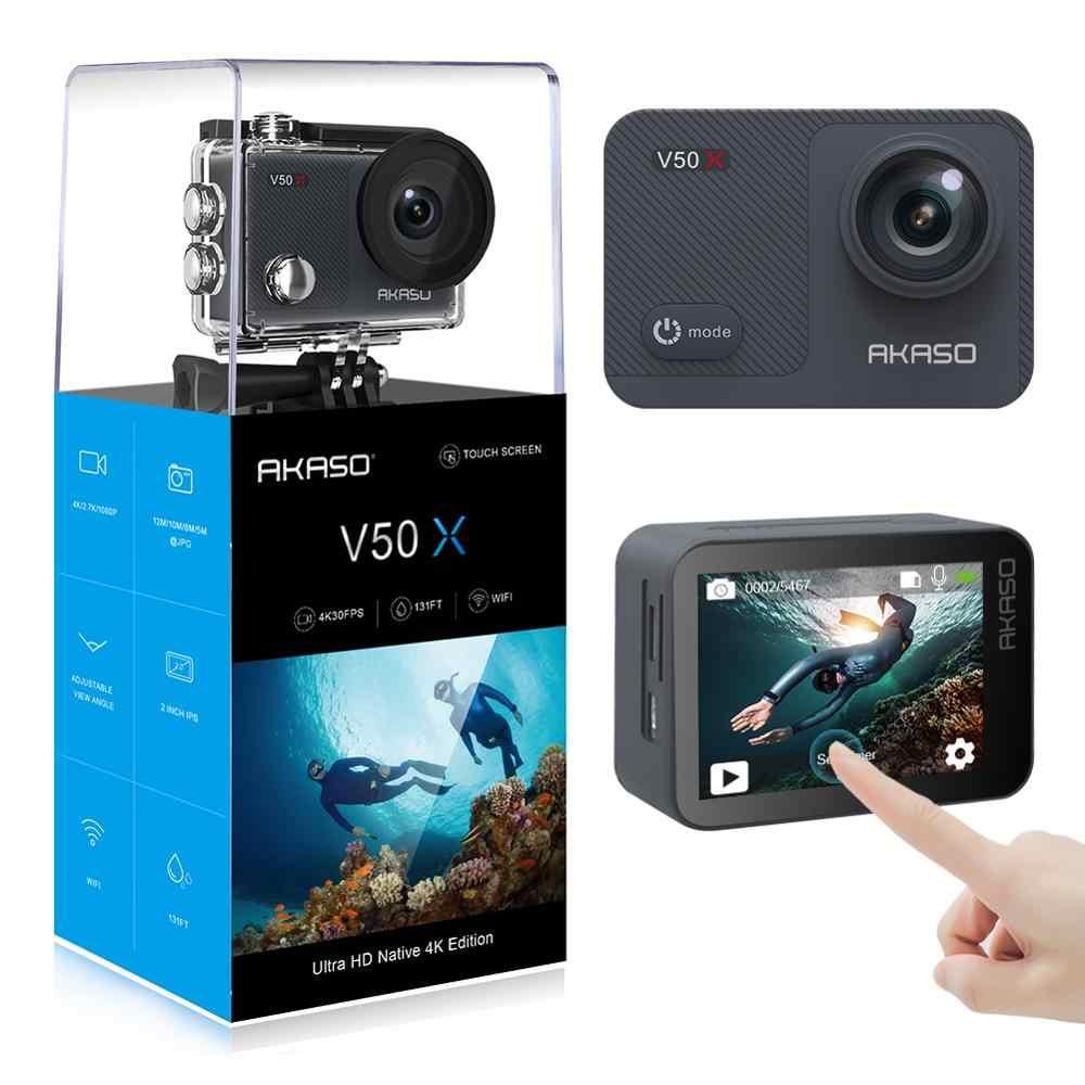 AKASO V50X WiFi Camera Hành Động Bản Địa 4K30fps Camera Thể Thao Với EIS Màn Hình Cảm Ứng Có Thể Điều Chỉnh Góc Nhìn 131 Chân Máy Ảnh Chống Nước