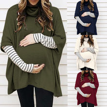 Turtleneck Pregnant Women Maternity Clothes Cotton Long Sleeve Pregnancy T-shirt Tops Autumn Winter Striped Casual Maternity Top(China)