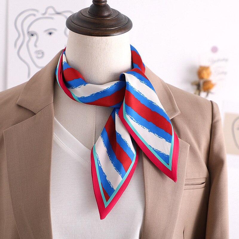 2020 new  stripe Print Women Silk Scarf Small Handle Bag Ribbons Female neckerchief Head Scarves Hair band black Foulard 90*10cm