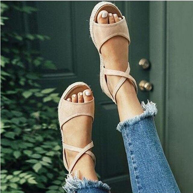 Sandalias de plataforma de mujer 2020, zapatos planos de gladiador con punta abierta y cremallera para mujer, zapatos de verano cómodos de talla grande para mujer 4