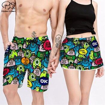 Couple Matching  MONSTER UNIVERSITY Printed 3d Shorts women for men Elastic Waist Summer Quick Dry Beach shorts