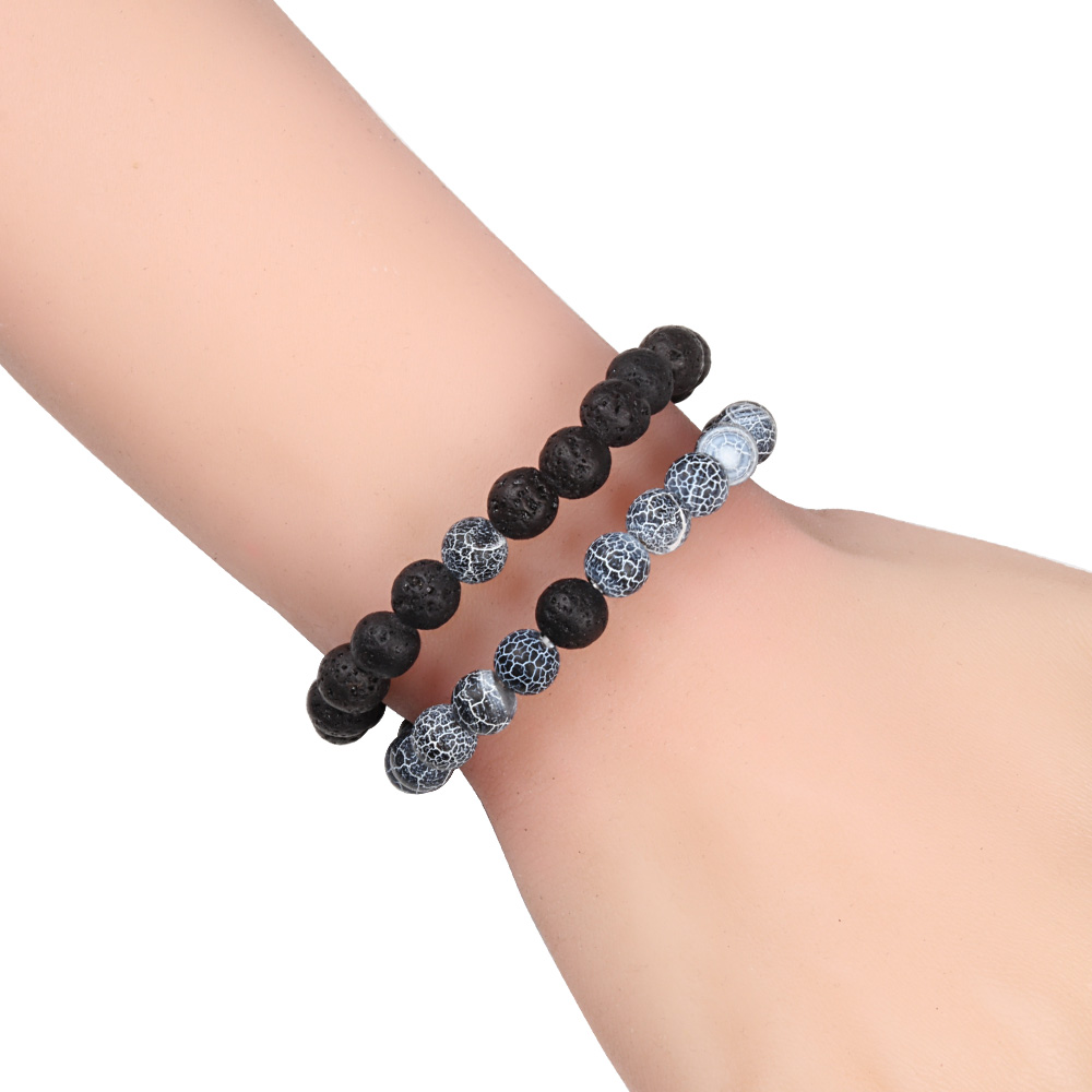 Couple Bracelet Natural 8MM Black Lava Weathered Stone Women Elastic Onyx Beaded Bracelets Bangles Men Bileklik Distance Jewelry 4