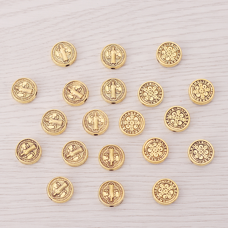 30 x Antique Gold Saint Benedict Medal Cross Crucifix Metal Round Spacer Beads Charms For DIY Jewelry Making Accessories 10mm