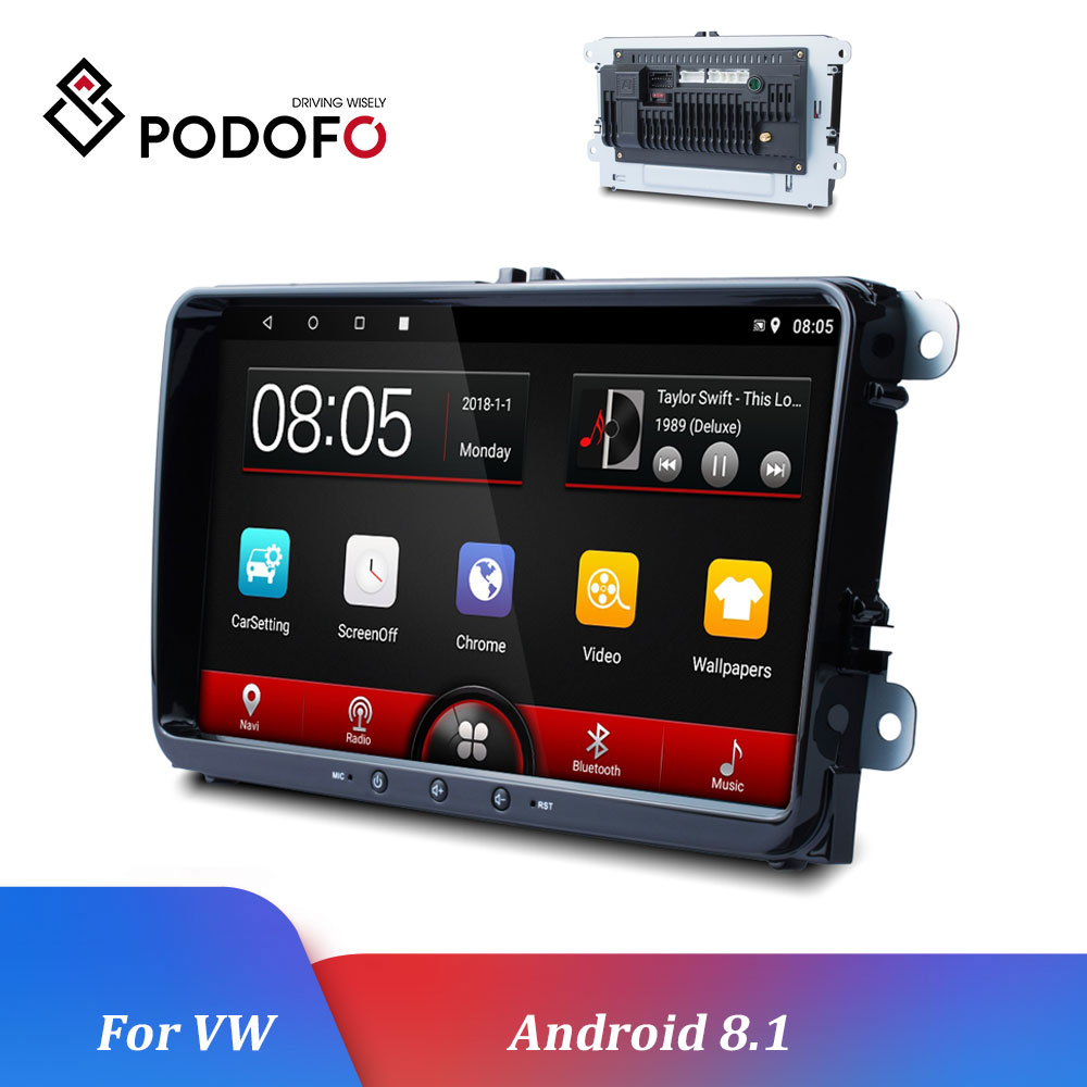 Podofo Android 8.1 Car Multimedia player 2Din Car Radios Autoradio For VW/Volkswagen/Skoda/Golf/Polo/Passat/b7/b6/SEAT/Tiguan